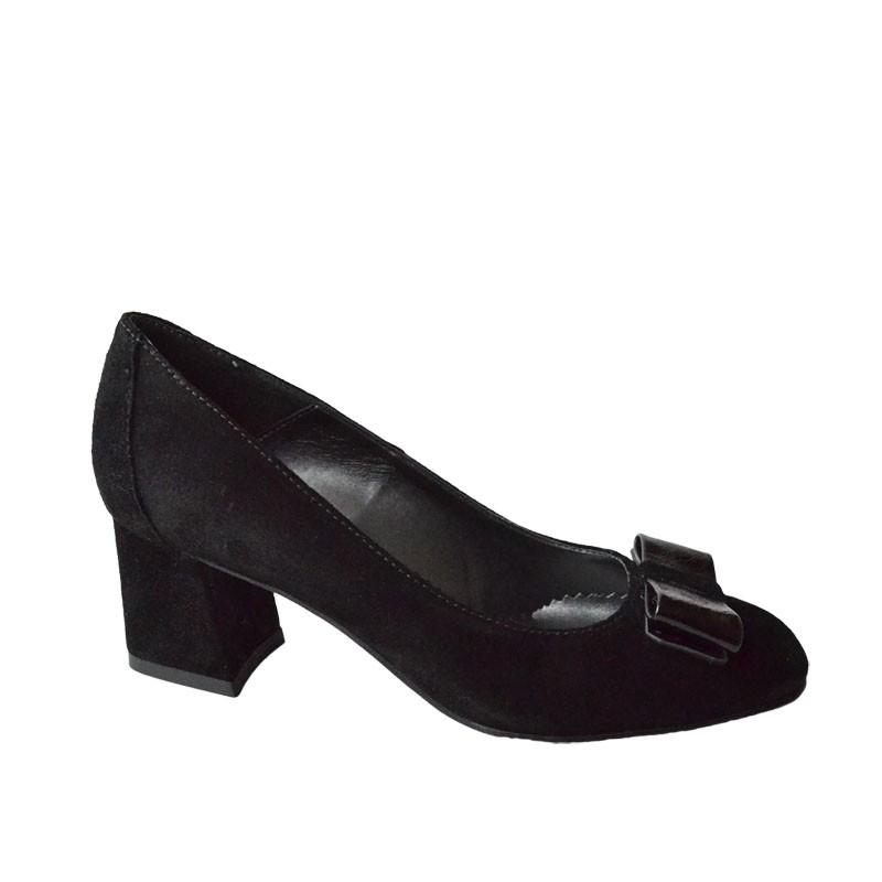 Pantofi dama cu toc patrat negri cu funda