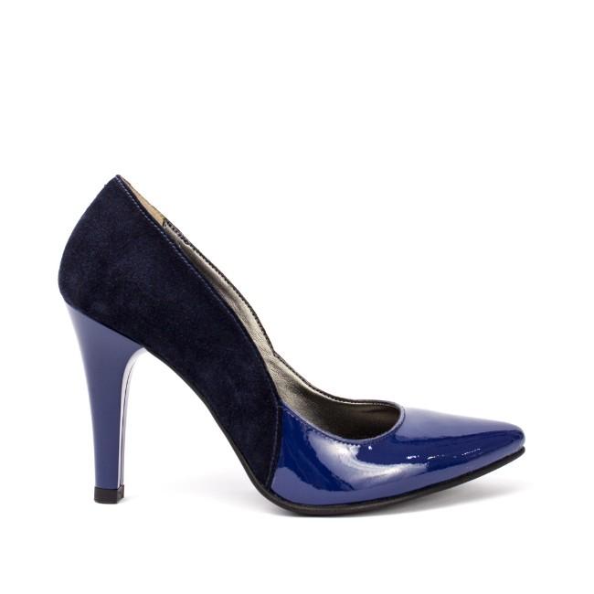 Pantofi dama stiletto negru-albastru