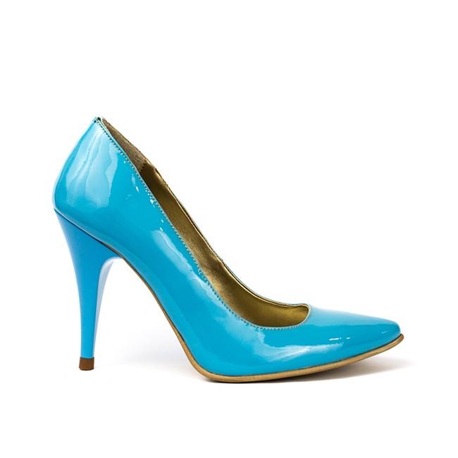 Pantofi dama stiletto piele lacuita bleu