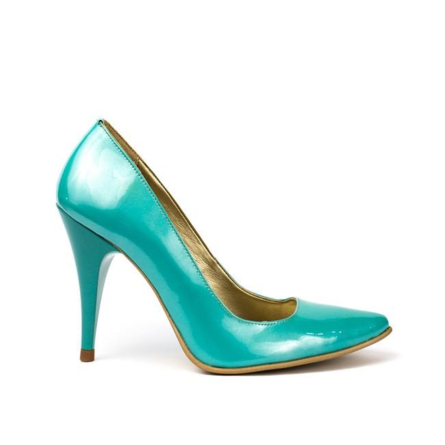 Pantofi dama stiletto piele lacuita turquoise