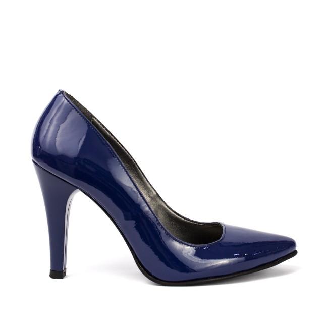 Pantofi dama stiletto piele lacuita albastra