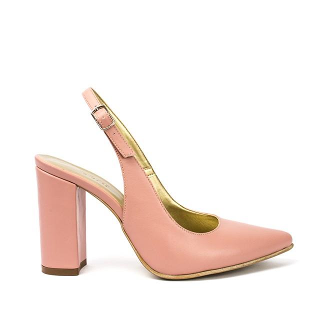 Sandale dama cu toc din piele roz