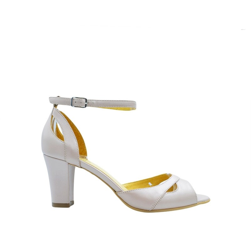 Sandale dama cu toc din piele nude sidef
