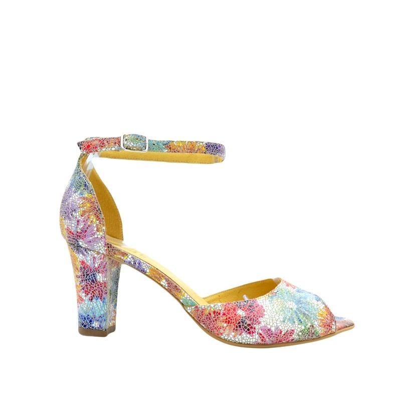 Sandale dama cu toc din piele naturala multicolora