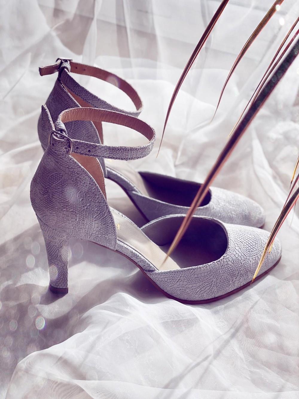 Sandale dama elegante piele naturala gri flori