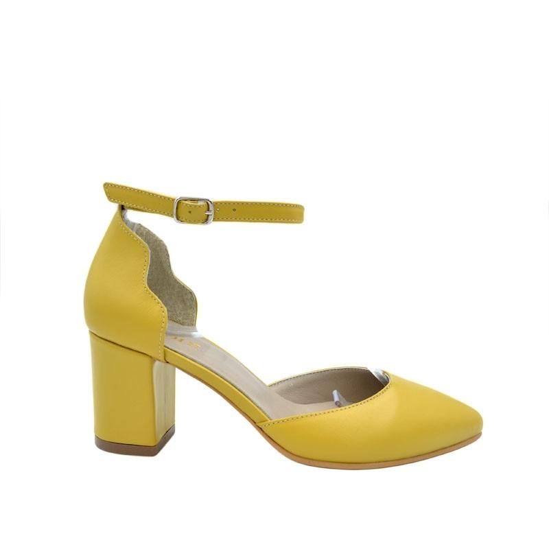 Sandale dama cu toc gros piele naturala galben