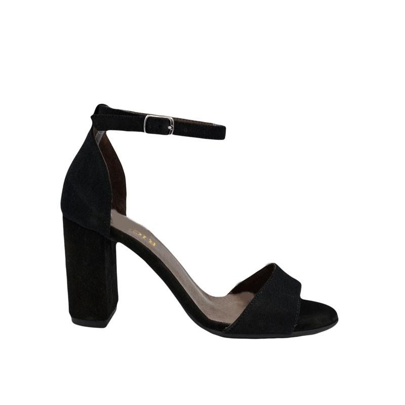 Sandale dama cu toc din piele intoarsa neagra