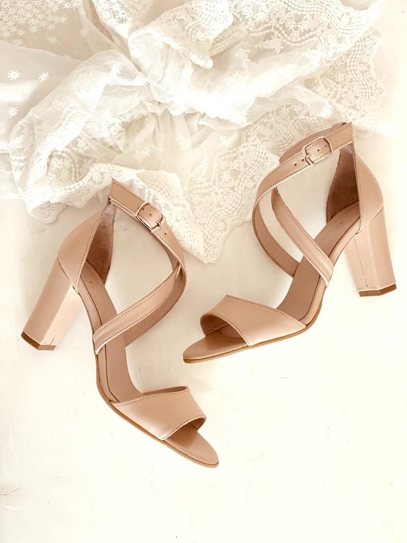 Sandale dama cu toc din piele naturala nude sidef