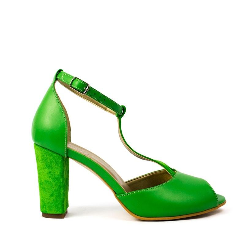 Sandale dama cu toc din piele naturala verde