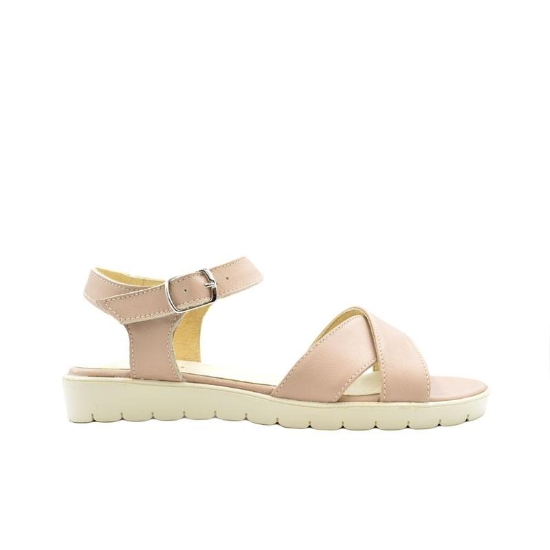 Sandale dama fara toc piele naturala bej