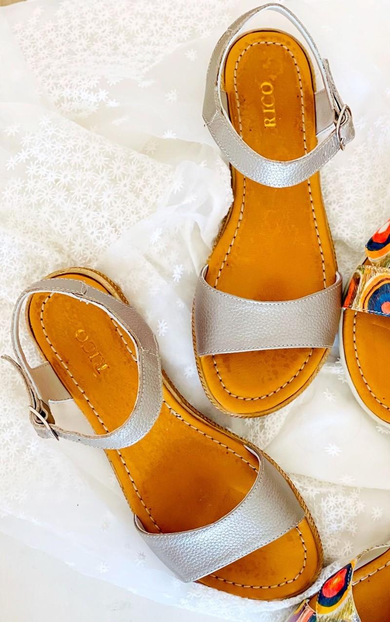 Sandale dama fara toc gri sidef