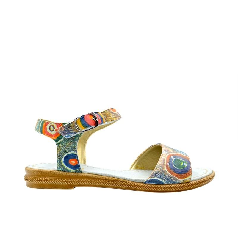 Sandale dama fara toc paun multicolor