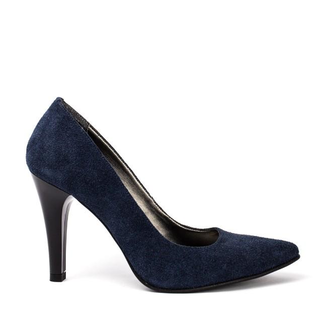Pantofi dama stiletto piele intoarsa bleumarin