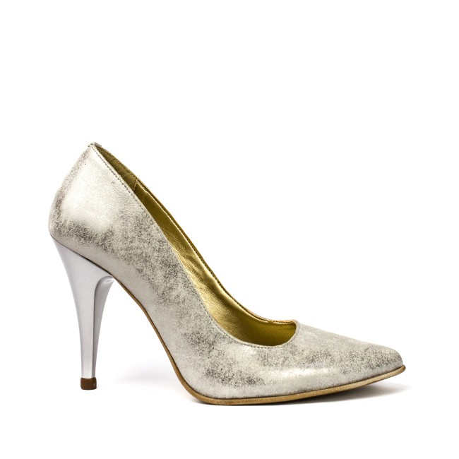 Pantofi dama stiletto piele argintii