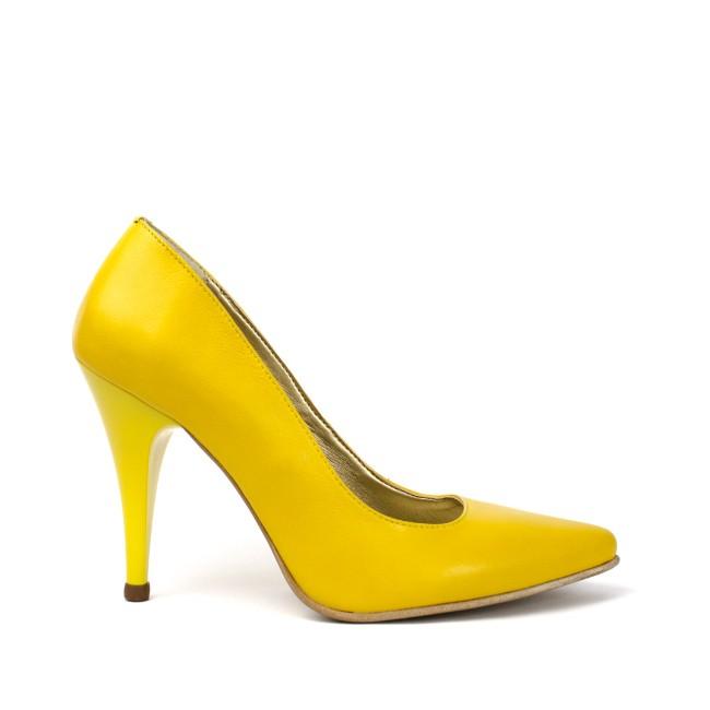 Pantofi dama stiletto piele naturala galbeni