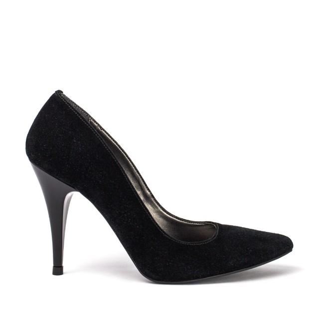 Pantofi dama stiletto piele intoarsa negri