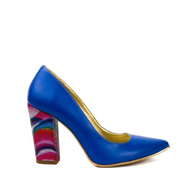 Pantofi dama stiletto cu toc gros albastri
