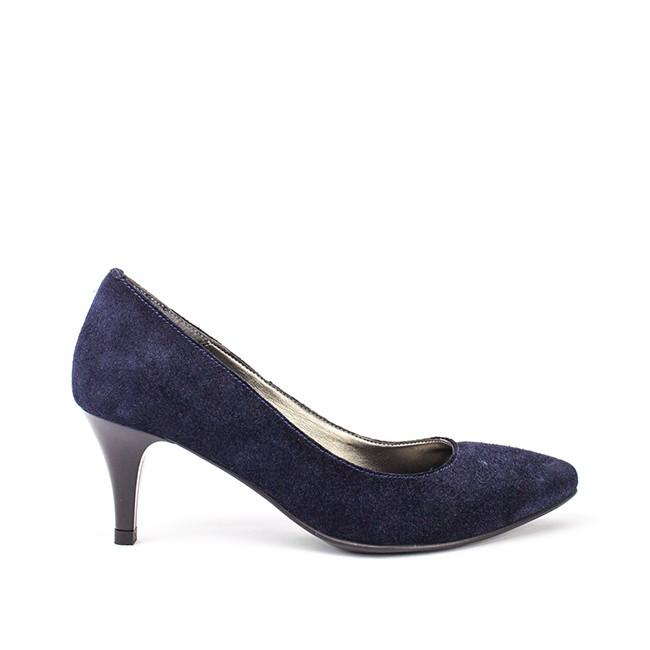 Pantofi dama ascutiti cu toc albastri