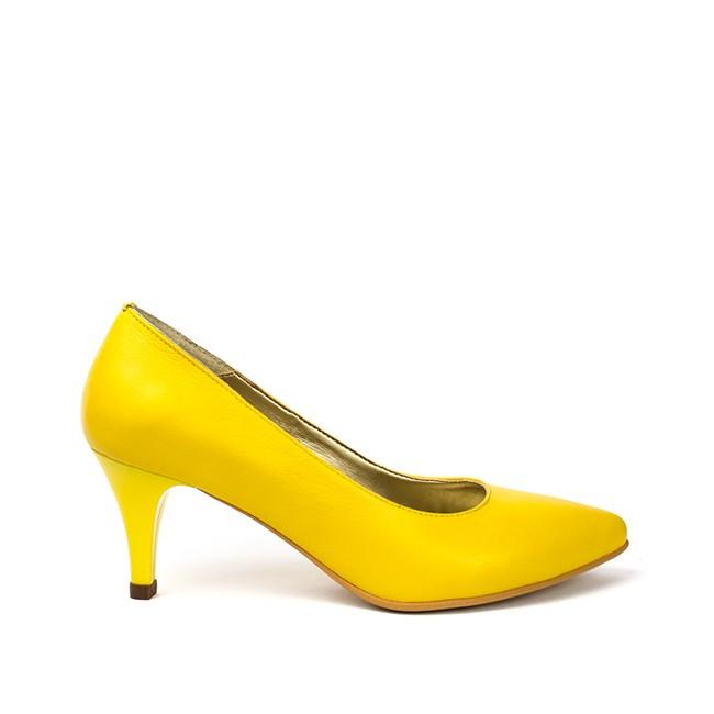 Pantofi dama stiletto cu toc mic din piele galbeni
