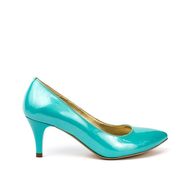 Pantofi dama cu toc mic din piele turquoise
