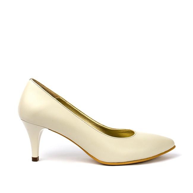 Pantofi dama cu toc mic din piele unt sidef