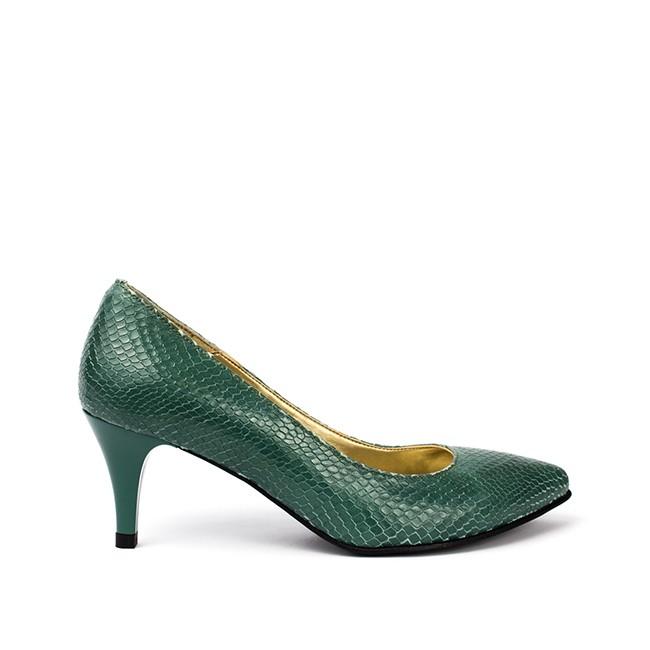Pantofi dama cu toc mic din piele verzi