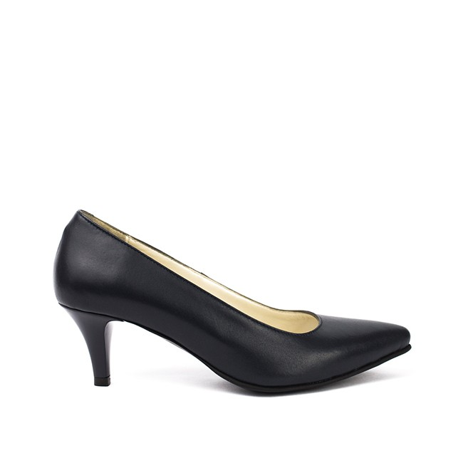 Pantofi dama stiletto cu toc mic din piele negri