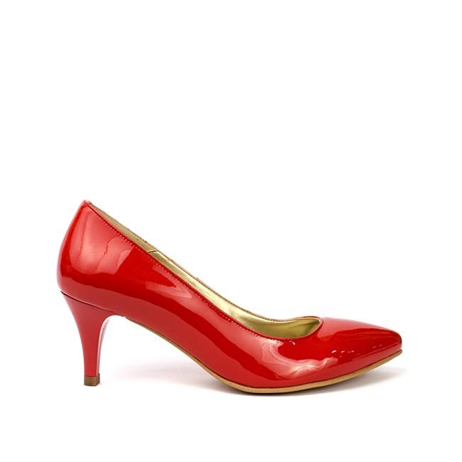 Pantofi dama lac ascutiti cu toc rosii