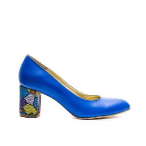 Pantofi dama cu toc gros albastri