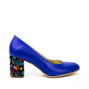 Pantofi dama cu toc gros din piele albastri
