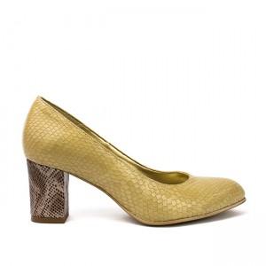 Pantofi dama cu toc gros din piele crem
