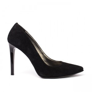 Pantofi dama stiletto piele intoarsa neagra