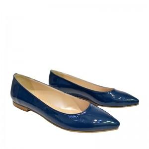 Pantofi dama ascutiti piele lac albastri