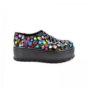 Pantofi dama multicolori cu siret din piele naturala