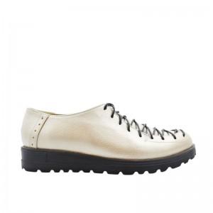 Pantofi dama cu siret piele naturala grej sidef