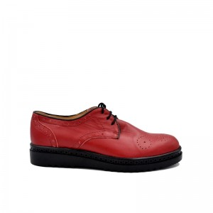 Pantofi dama grena cu siret din piele naturala