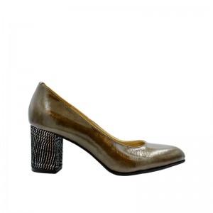 Pantofi de dama kaki cu toc gros