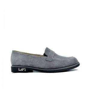 Pantofi dama gri fara siret din piele naturala