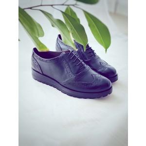 Pantofi dama oxford din piele naturala neagra