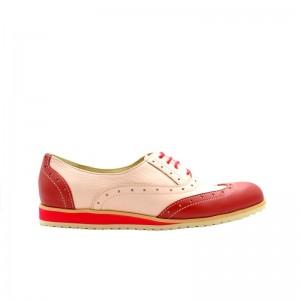 Pantofi dama oxford roz din piele naturala