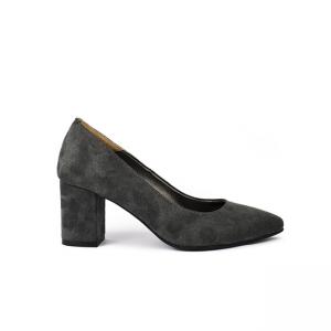 Pantofi dama cu toc gros piele intoarsa gri