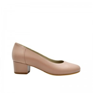 Pantofi dama cu toc gros mic bej