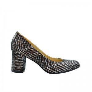 Pantofi de dama cu toc gros piele naturala in carouri