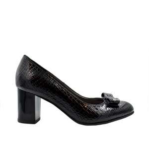 Pantofi de dama negri piele naturala tip croco