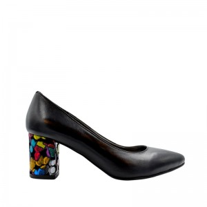 Pantofi dama pumps negri cu toc gros din piele naturala