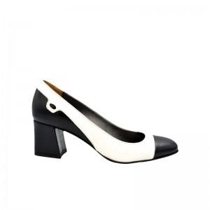 Pantofi dama din piele naturala cu toc patrat alb si negru