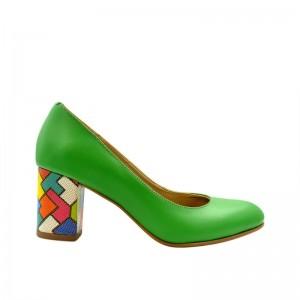 Pantofi de dama verzi cu toc multicolor