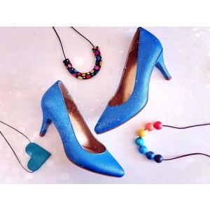 Pantofi dama pumps bleu din piele naturala