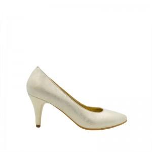 Pantofi dama stiletto auriu din piele naturala