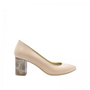 Pantofi dama pumps nude cu toc gros din piele naturala